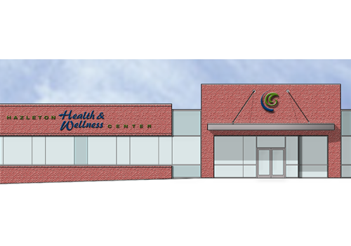 Hazleton Health & Wellness Center Rendering of signage at main entrance
